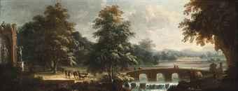 A wooded river landscape with drovers and their herd beside classical ruins and travellers crossing a bridge by Michele Pagano