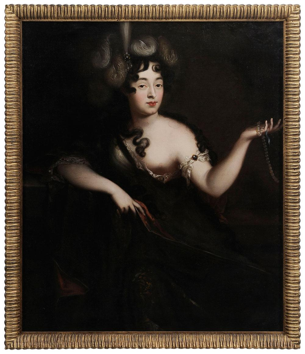 Portrait of Beauty, wearing loose gown and holding pearls by Jacob d'Agar