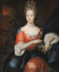 A noble woman with highpiled hair decorated with precious stones by Jacob d'Agar