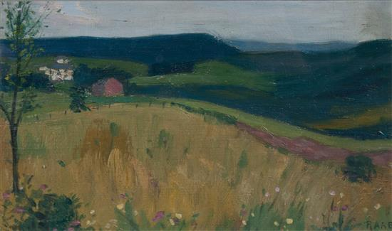 Country field with barn by George Raab