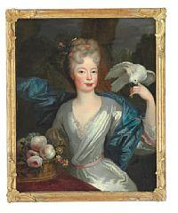 Portrait of a noblewoman in a white dress and a blue taffeta shawl.  Her hair decorated with flowers.  In her hand she holds a tame cockato.  On a table a jardiniere with flowers and fruit by Jacob d'Agar