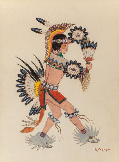 Fancy War Dancer; Flute Dancer; Shield Dancer by Stephen Mopope