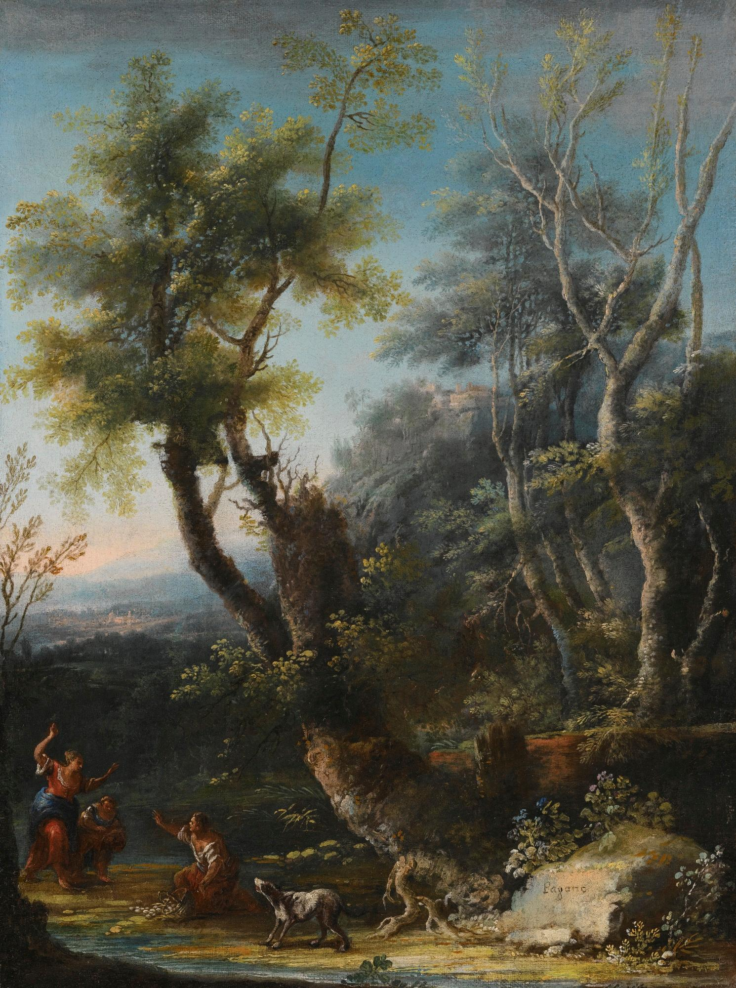 Wooded landscape with figures and a dog in the foreground, a castle and city beyond by Michele Pagano