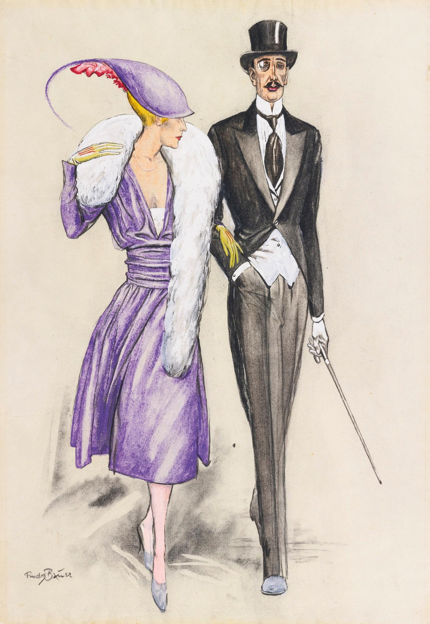 Untitled (Fashion Couple) by Rudolf Bauer