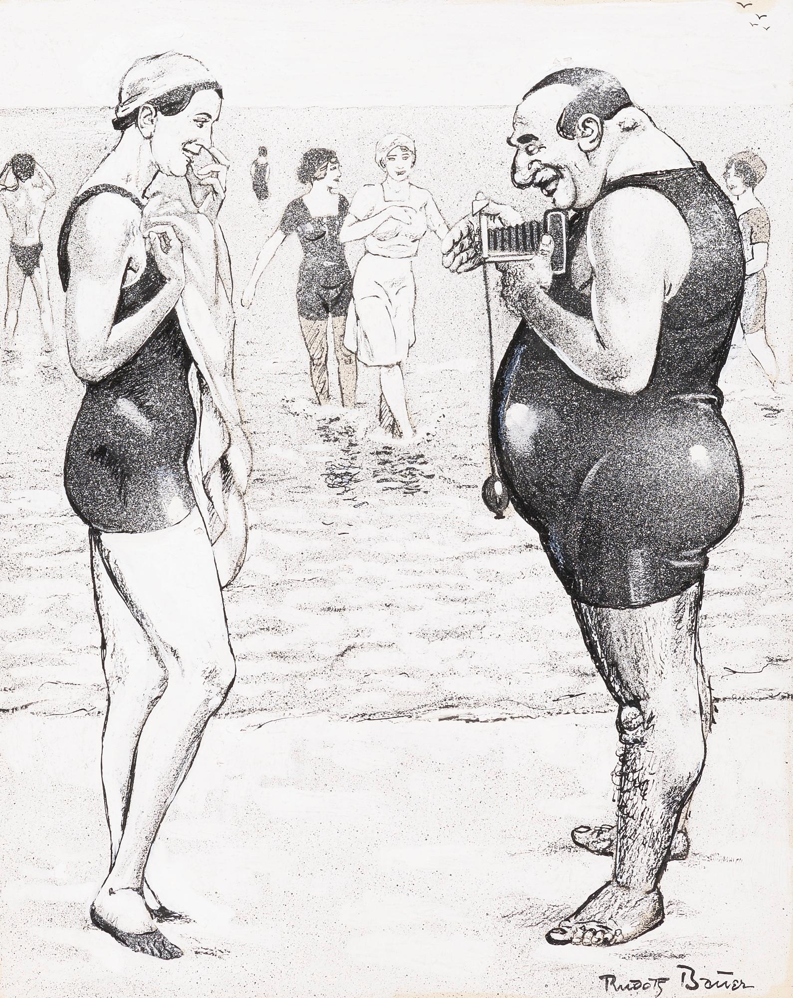 At the beach: A pair of drawings by Rudolf Bauer