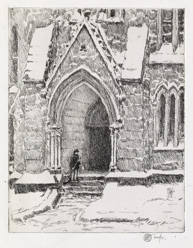 Church Doorway, Snow by Childe Hassam