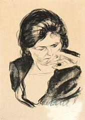 Kvinne med h?nden ved munnen (Woman with her Hand by her Mouth) by Edvard Munch
