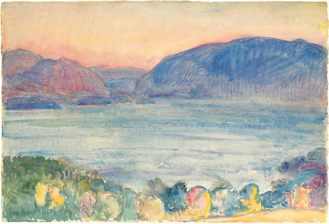 At sunset above Newburgh by Childe Hassam