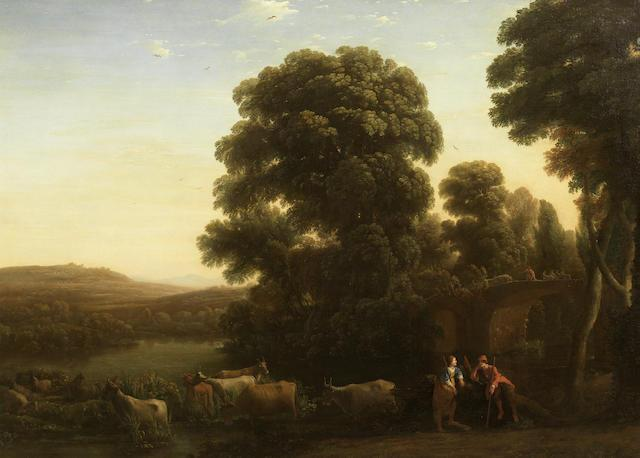 A pastoral landscape with a shepherd and shepherdess beside their livestock in an Arcadian landscape with drovers on a bridge beyond by Claude Lorrain