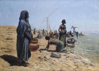 Grosse W?sche bei Omdurman: women washing along the river Nile, Sudan by Max Rabes