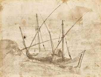 Boats on a shore (recto); Study of a figure (verso) by Claude Lorrain