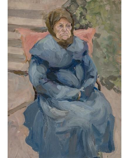 An elderly woman in a blue coat by Vladimir Baranoff-Rossine
