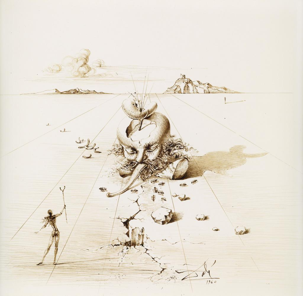 Landscape with a Surrealist Head and Standing Figure by Salvador Dali