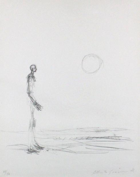 Man standing and sun (homme debout et soileil) (L.38) by Alberto Giacometti