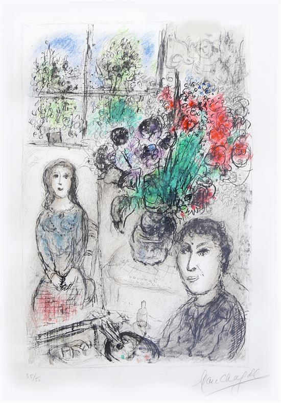 Easel with flowers by Marc Chagall