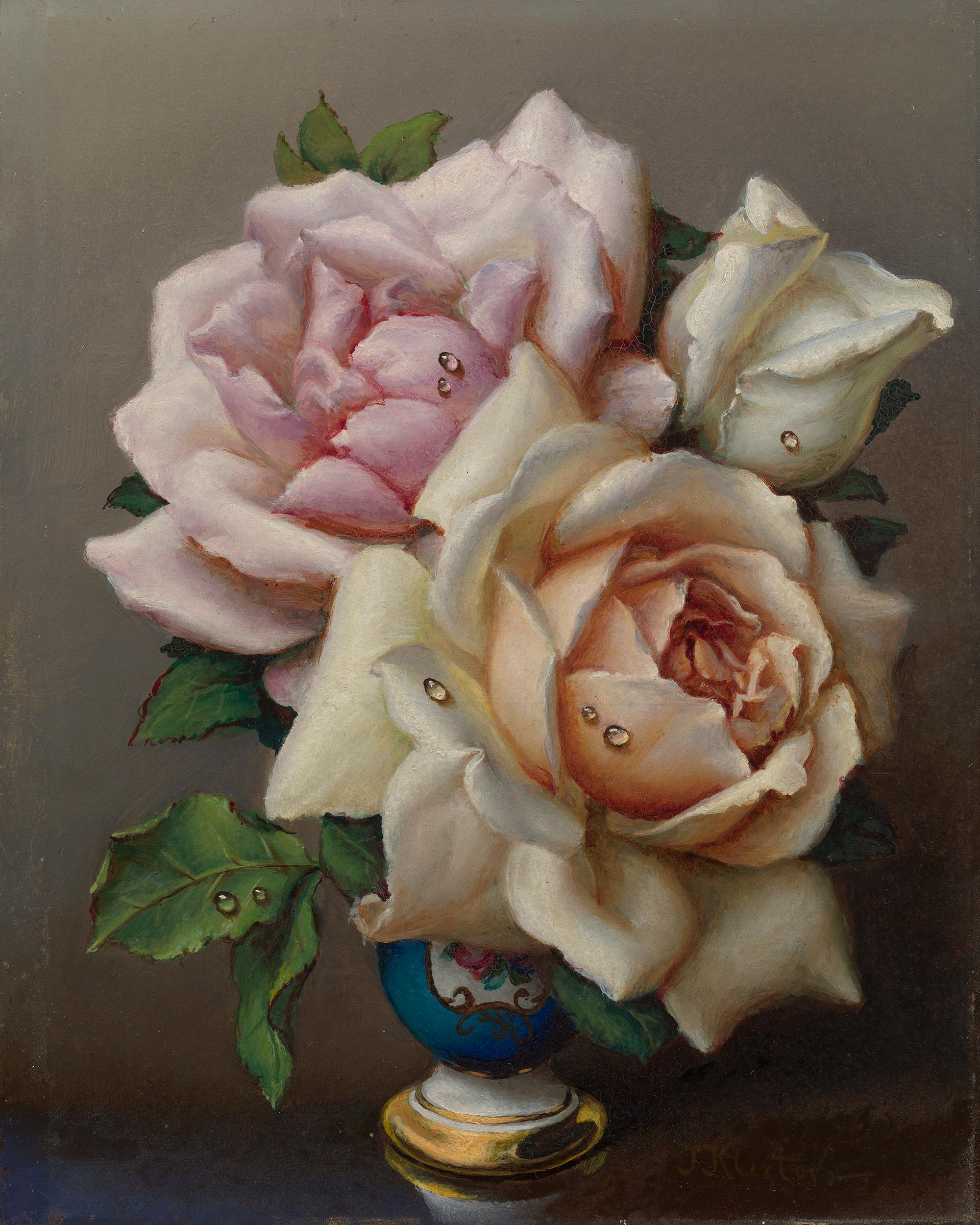 White and Pink Roses by Irene Klestova