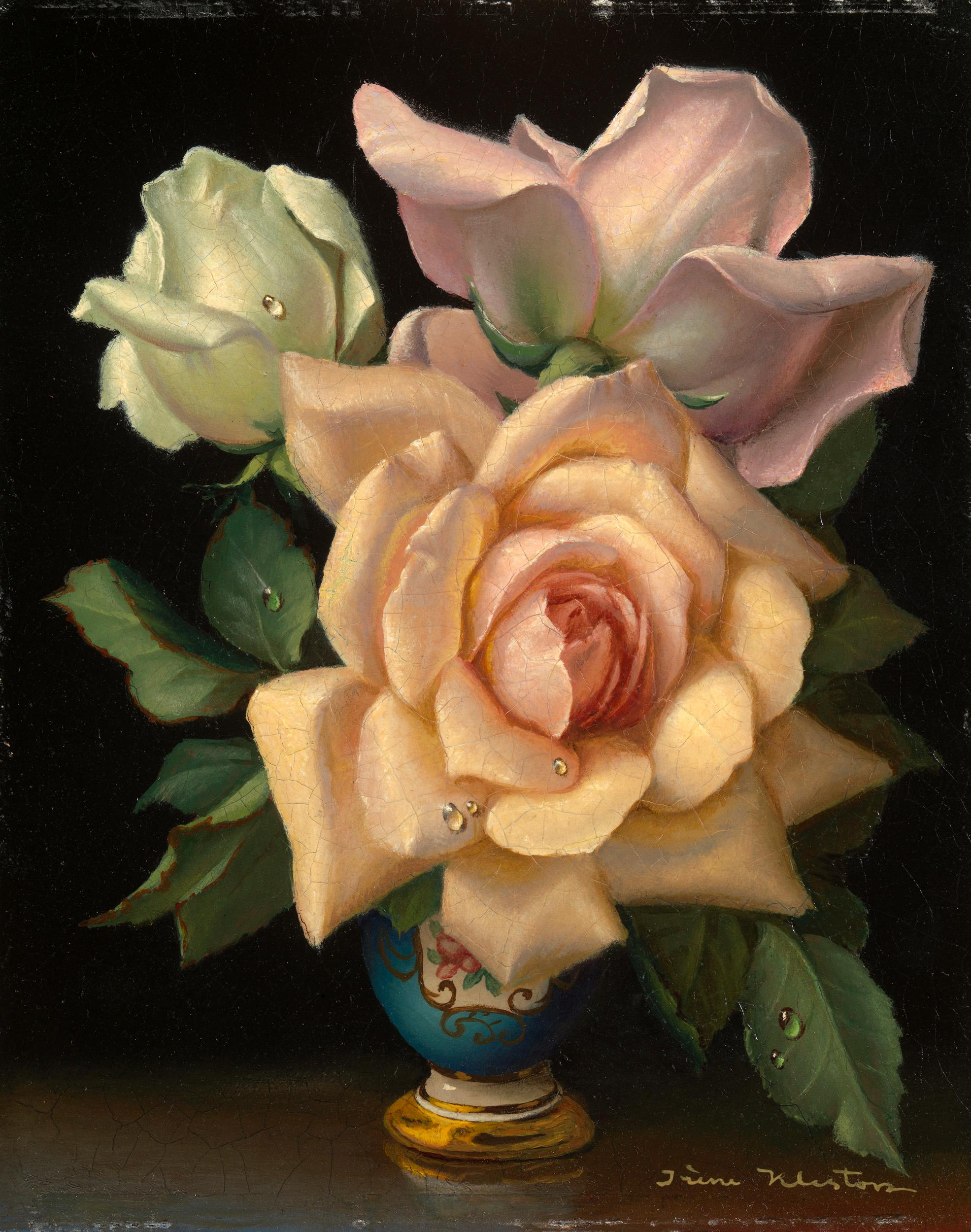 White, Pink and Peach Roses by Irene Klestova