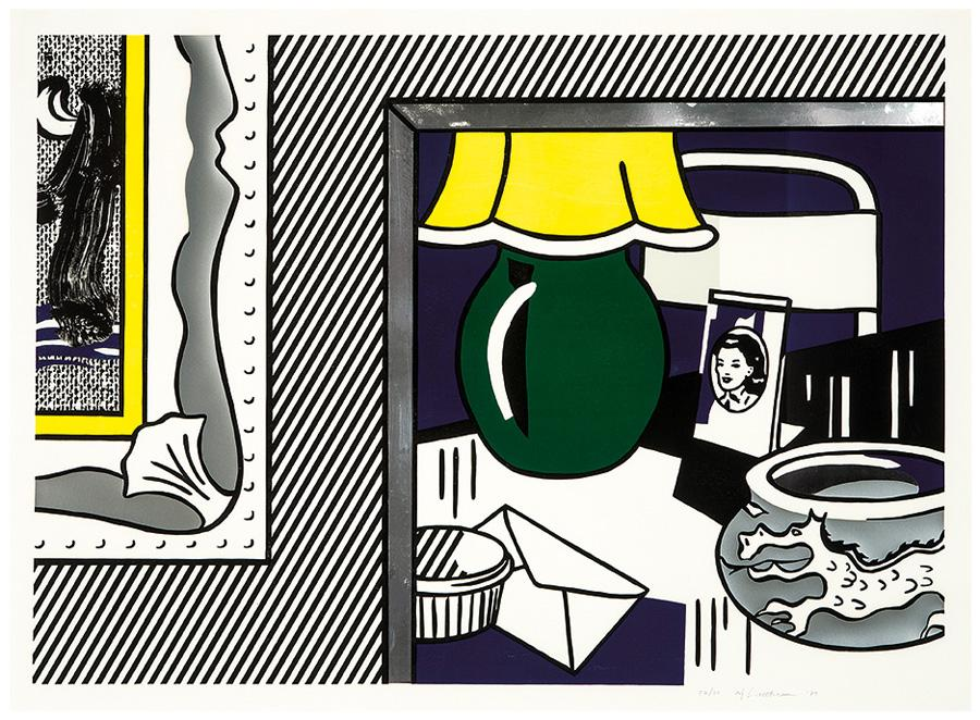 Two Paintings: Green Lamp (from Paintings Series) by Roy Lichtenstein