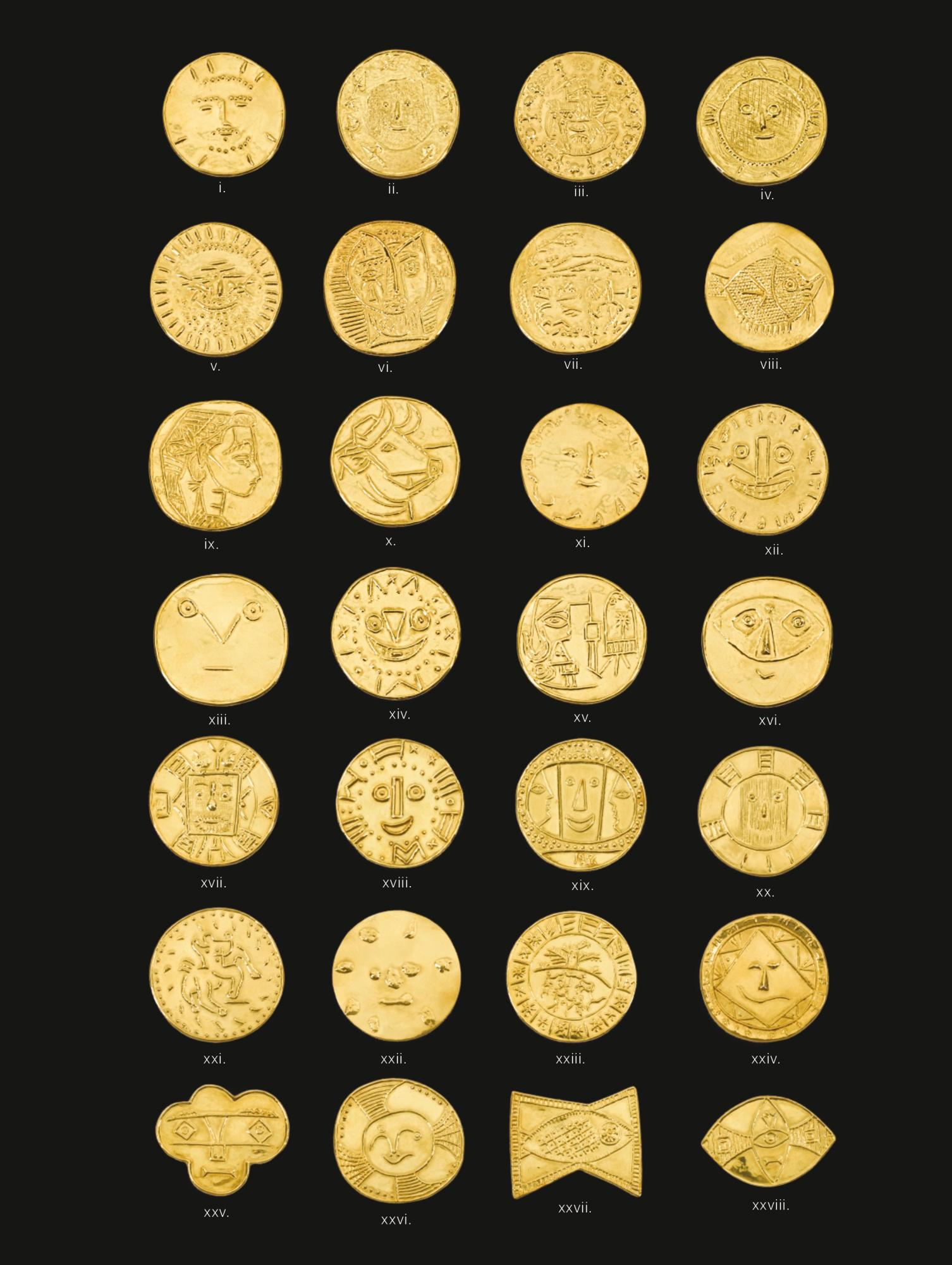 Twenty-eight Gold Medallions (A Set of 24 + A Set of 4) by Pablo Picasso