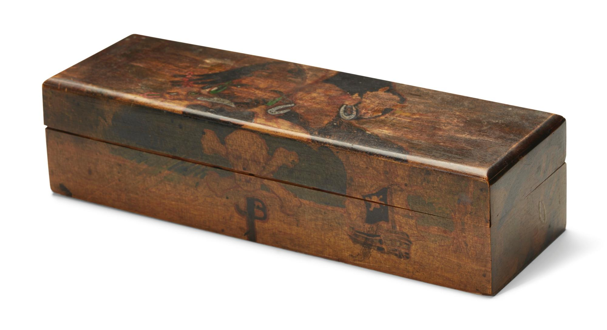 Artist's box for pencils, etc., decorated with a pirate theme by Jack Butler Yeats