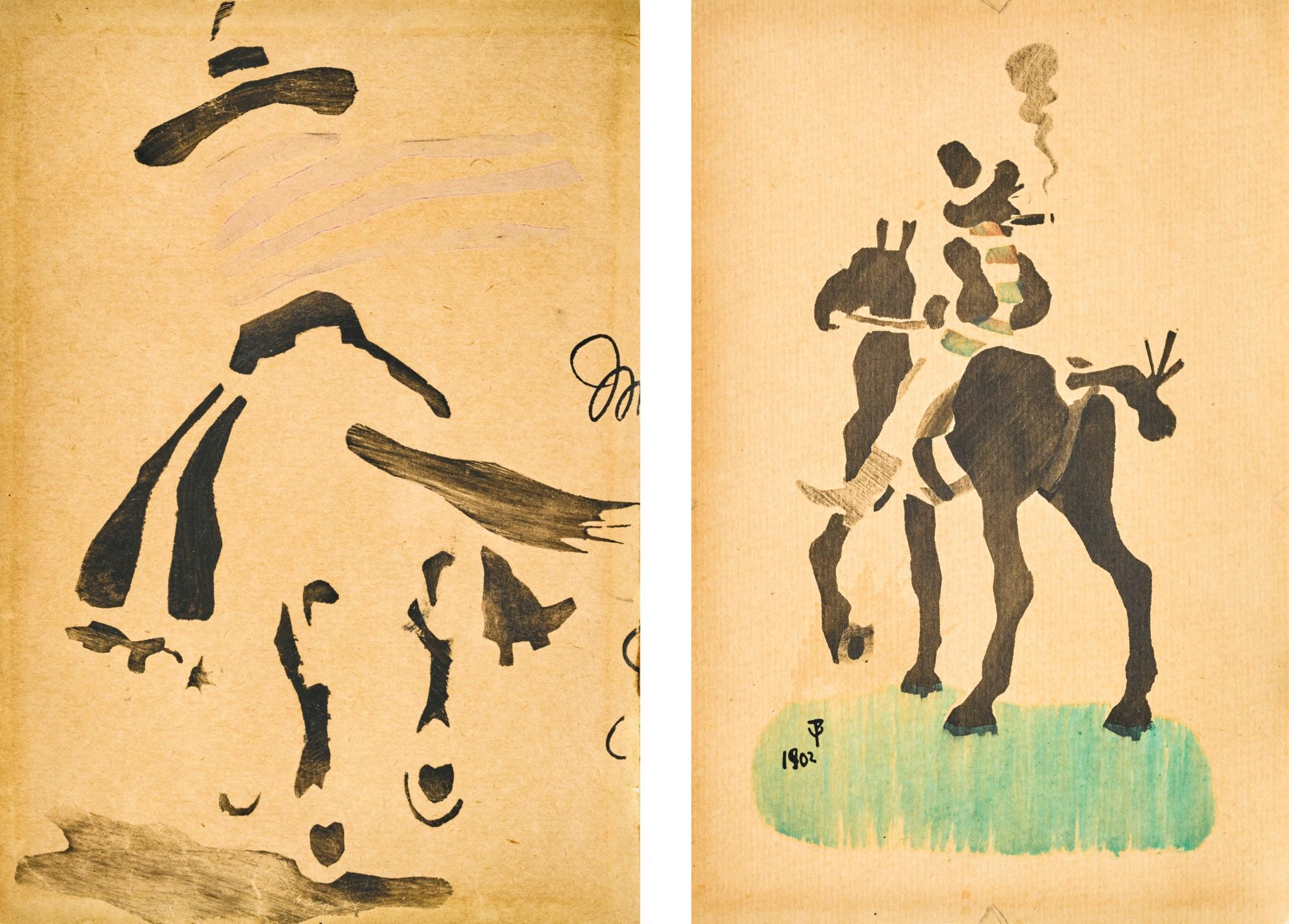 Stencil of a pirate on a horse by Jack Butler Yeats