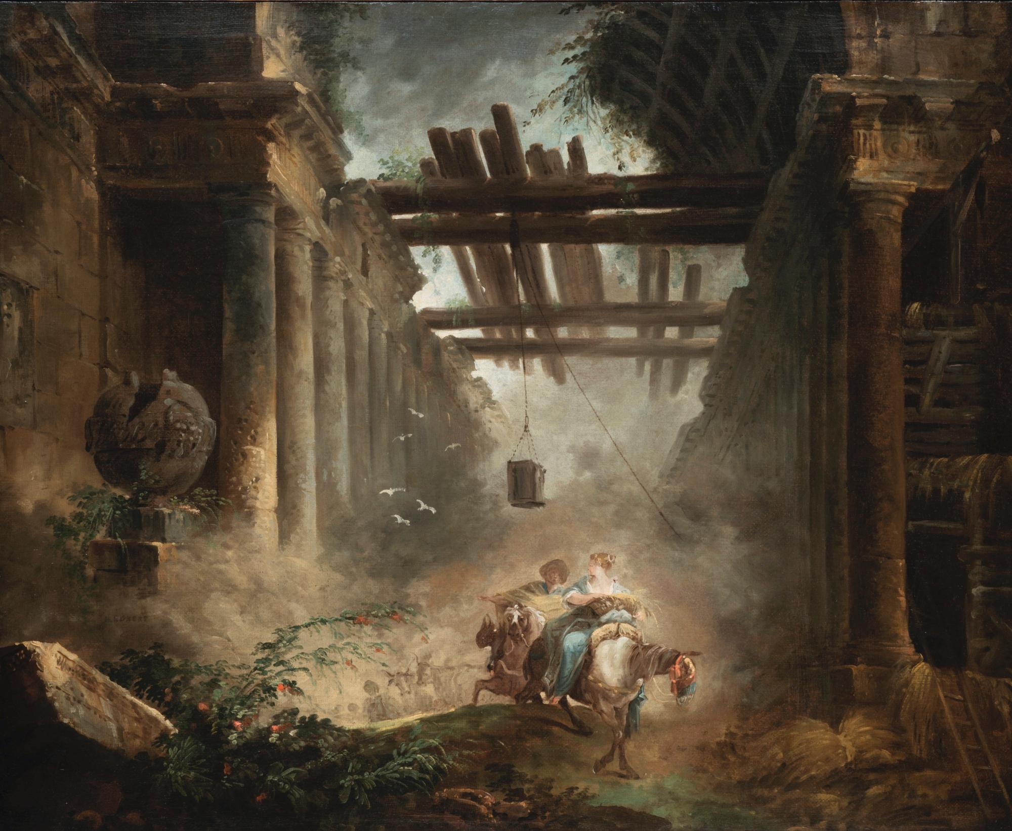 Figures on Horseback Departing a Ruined, Vaulted Building with Colonnades by Hubert Robert