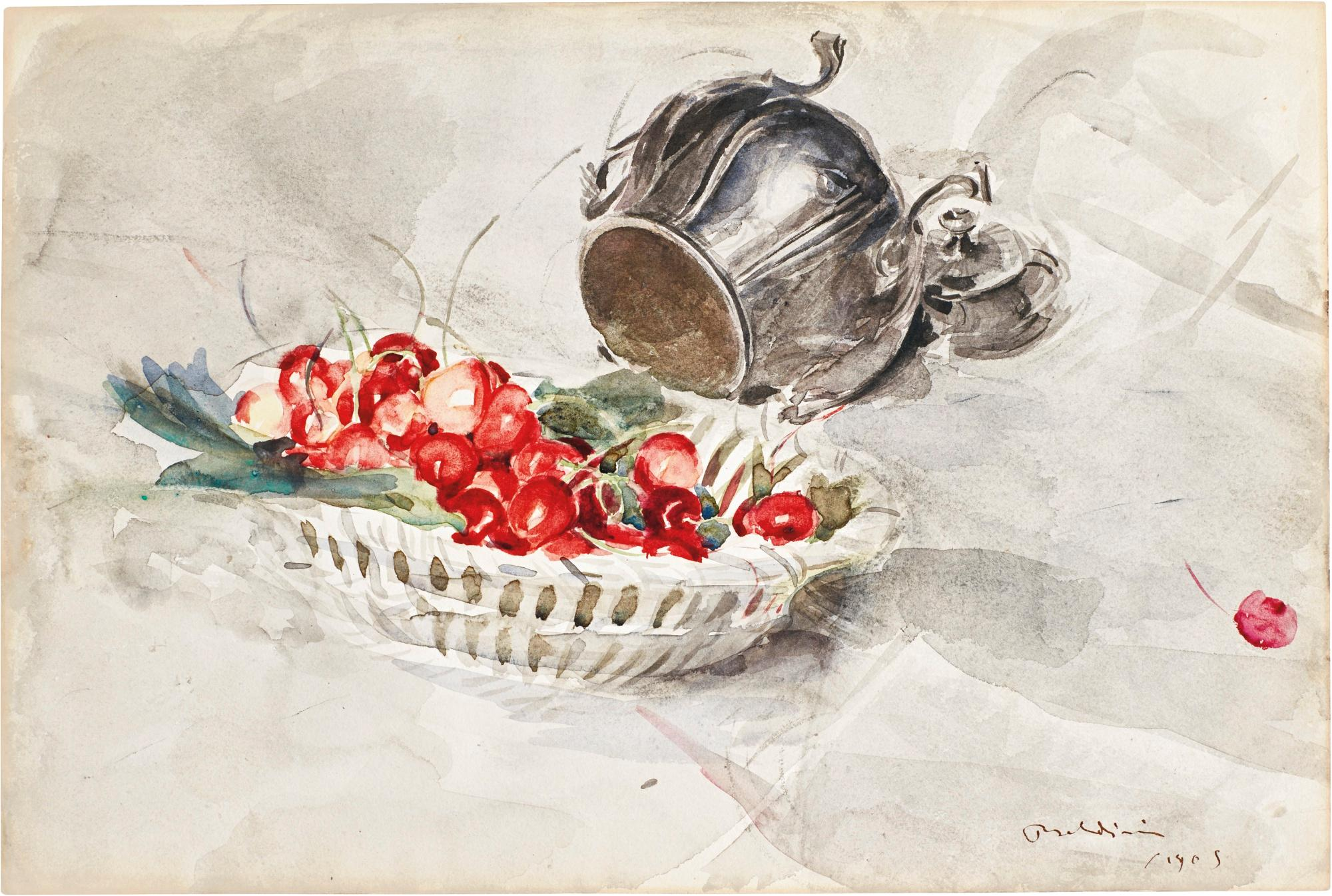 Still Life Of A Basket Of Cherries And A Silver Sugar Bowl by Giovanni Boldini