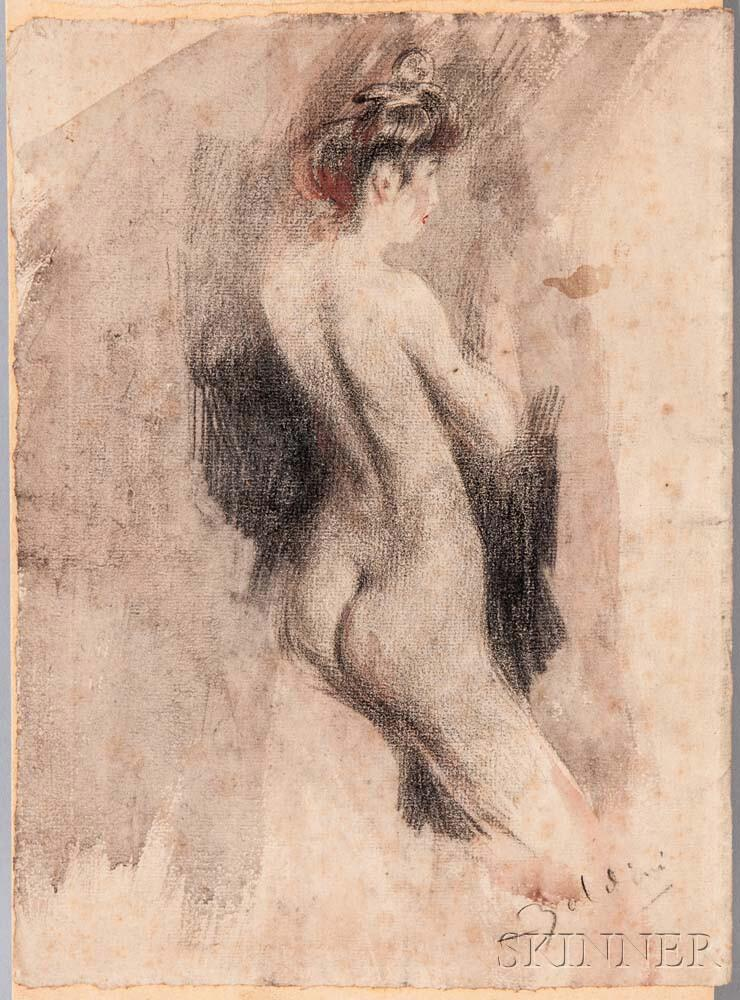 Study of a Standing Nude, Said to be the Model 'Dora' by Giovanni Boldini