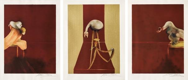 Deuxi?me version du triptyque, 1944, (after, Second Version of the Triptych 1944) by Francis Bacon