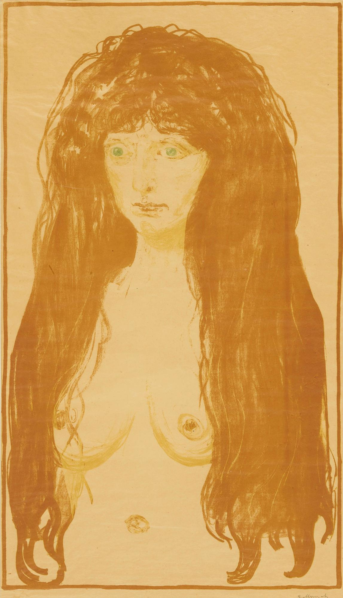 Woman With Red Hair And Green Eyes The Sin (Schiefler 142; Woll 198) by Edvard Munch