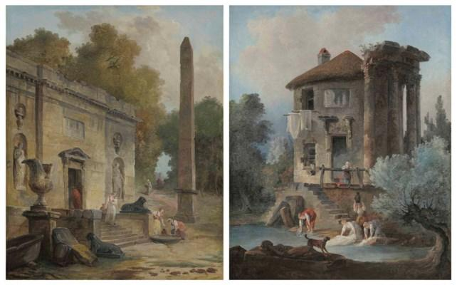 Capriccio of An Obelisk and a Ruined Classical Buiding With Figures; and Capriccio of a Washerwomen and a Dog by Hubert Robert