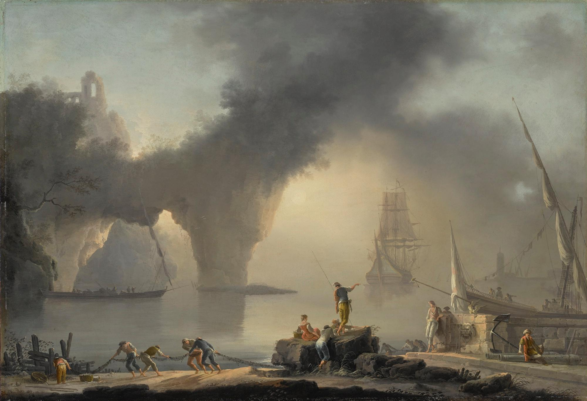 View of A Mediterranean Port At Sunrise, with Fishermen Along The Shore In The Foreground, A Natural Bridge Beyond by Joseph Vernet