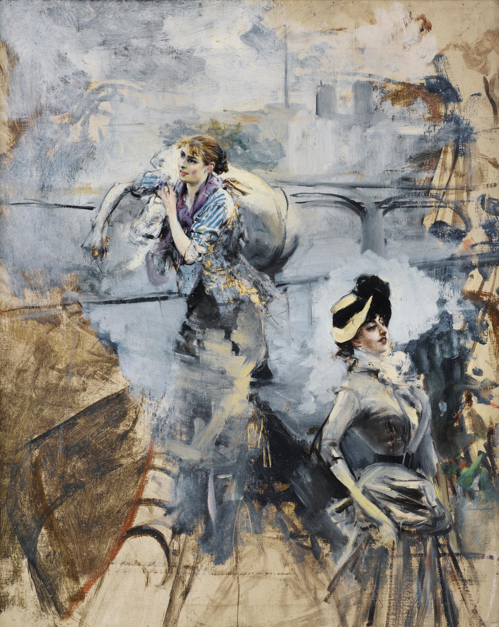 Washerwoman And A Young Brunette By The Seine, Paris by Giovanni Boldini