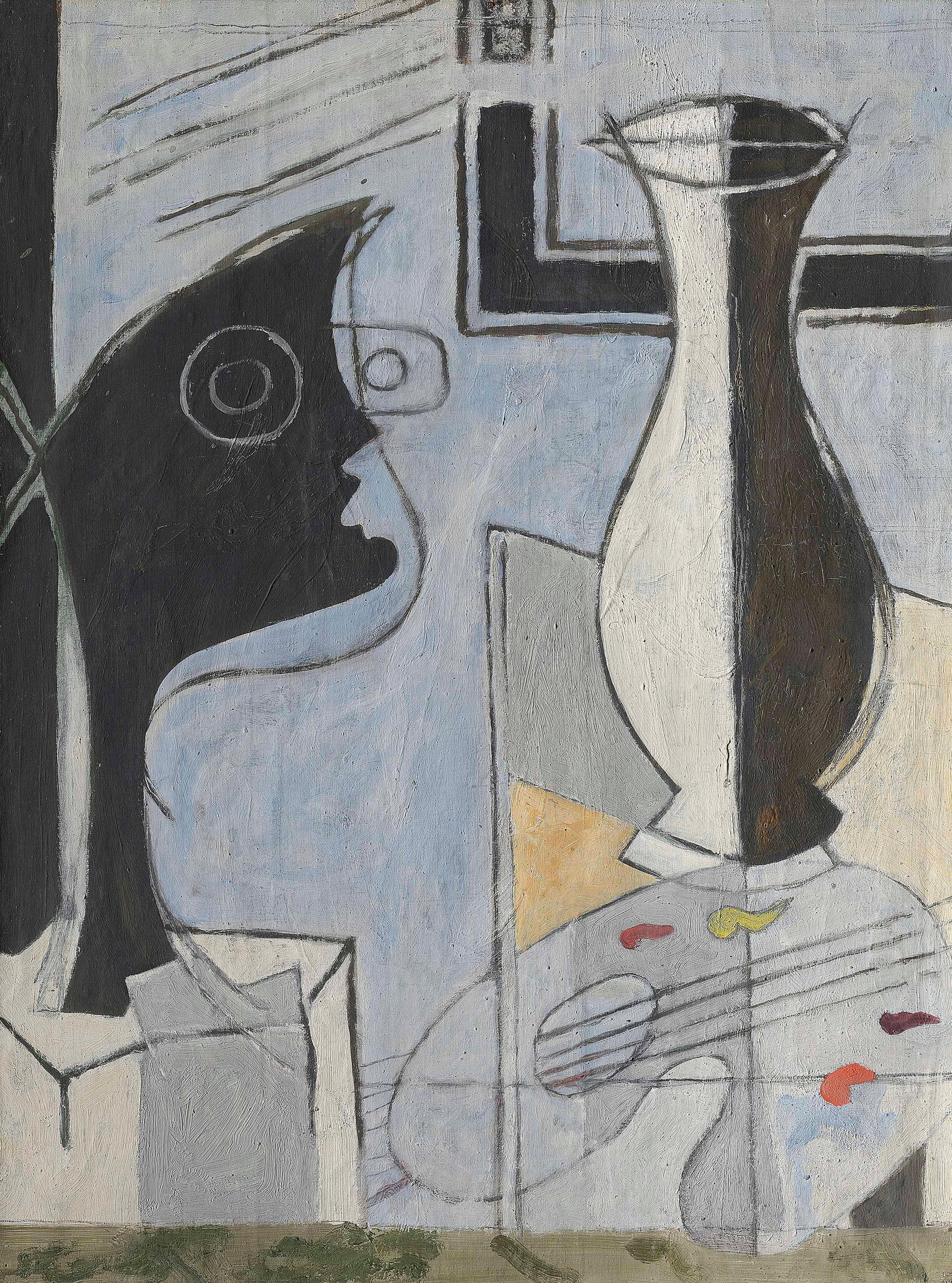 Vase, Palette Et T?te by Georges Braque