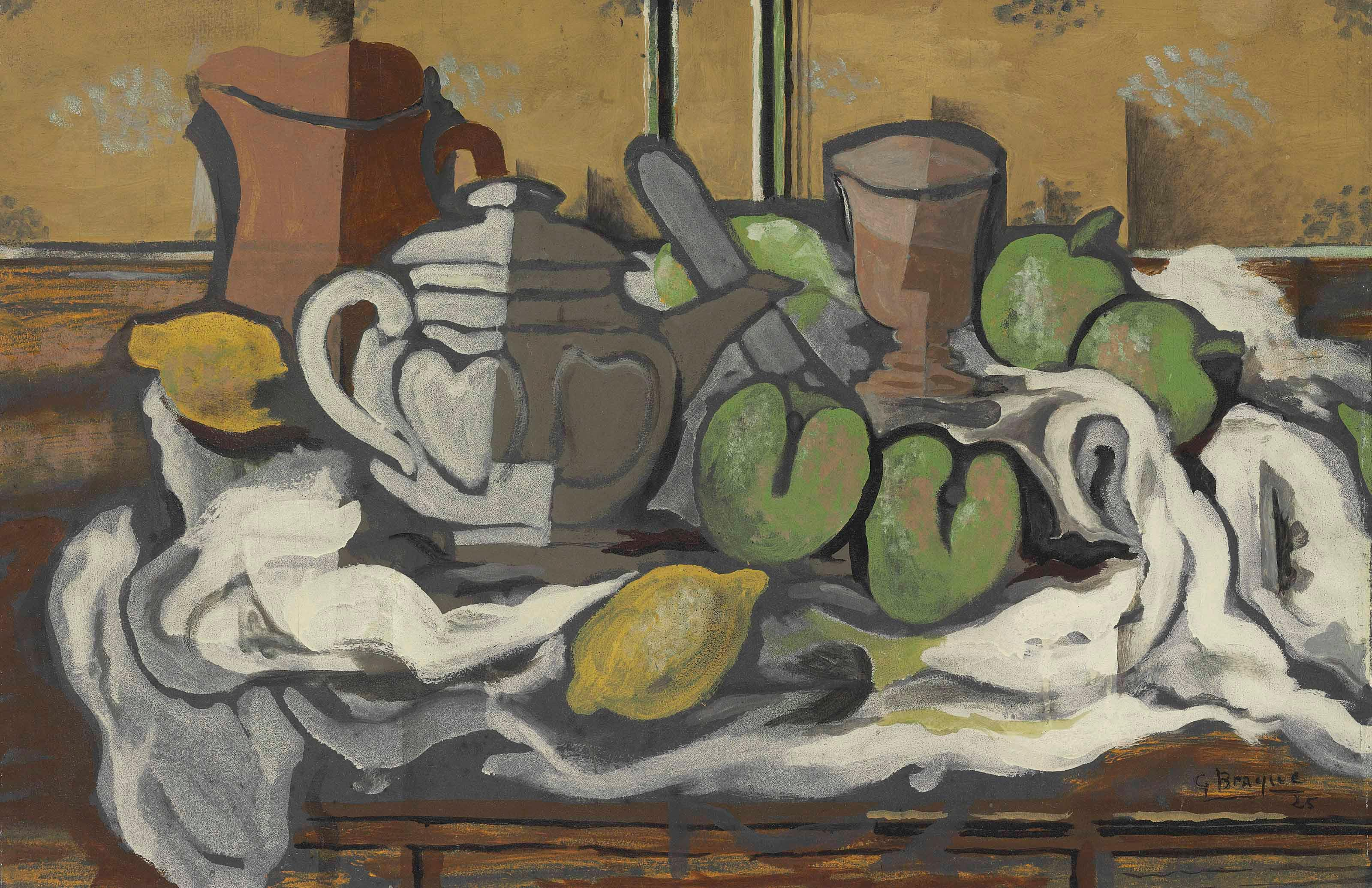 Th?i?re, Cruche, Verre Et Fruits by Georges Braque