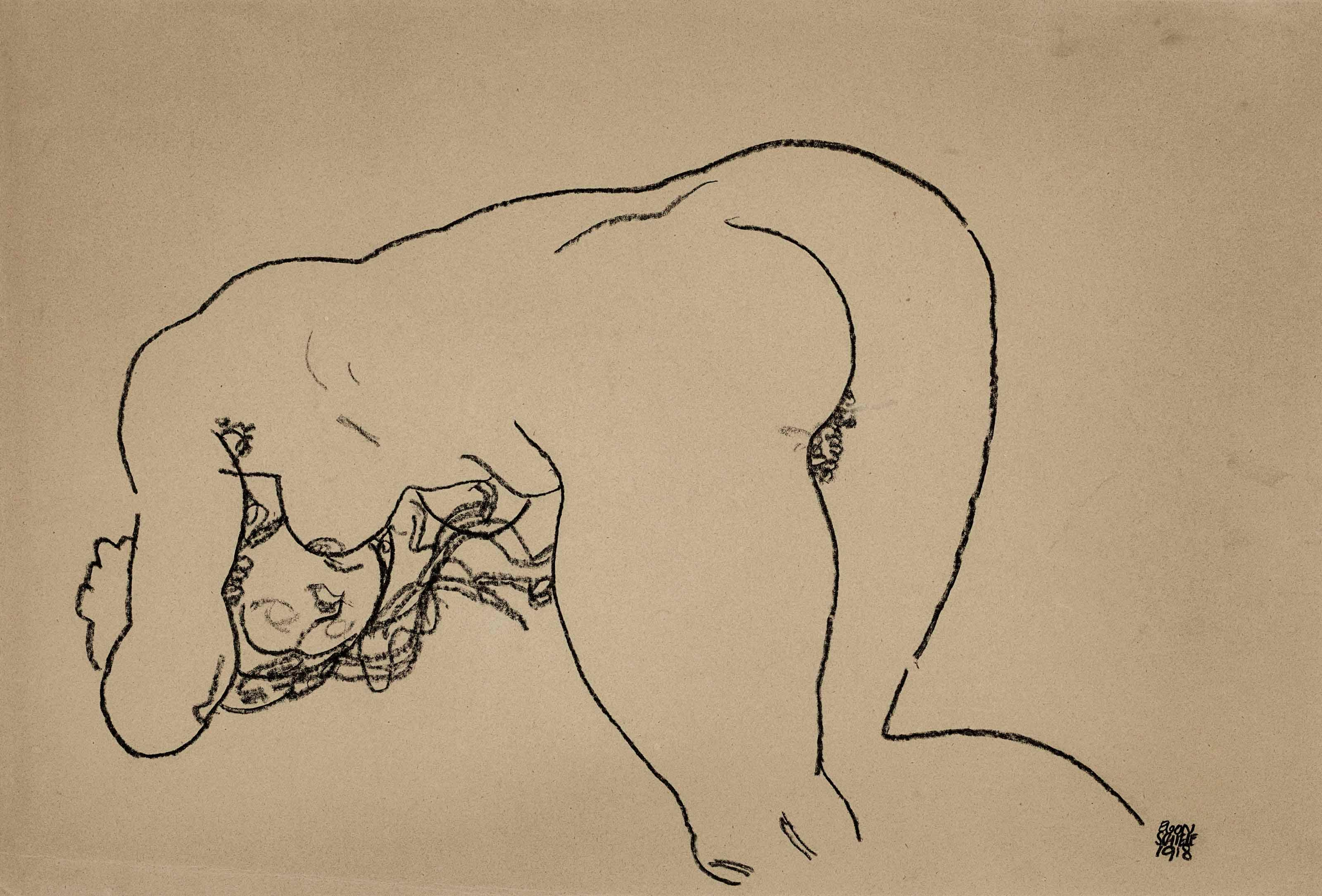 Female Nude Bending Down On Knees And Elbows by Egon Schiele