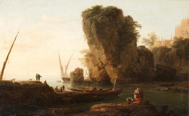 A cove on a rocky Mediterranean coast, with small vessels and fishermen by Joseph Vernet