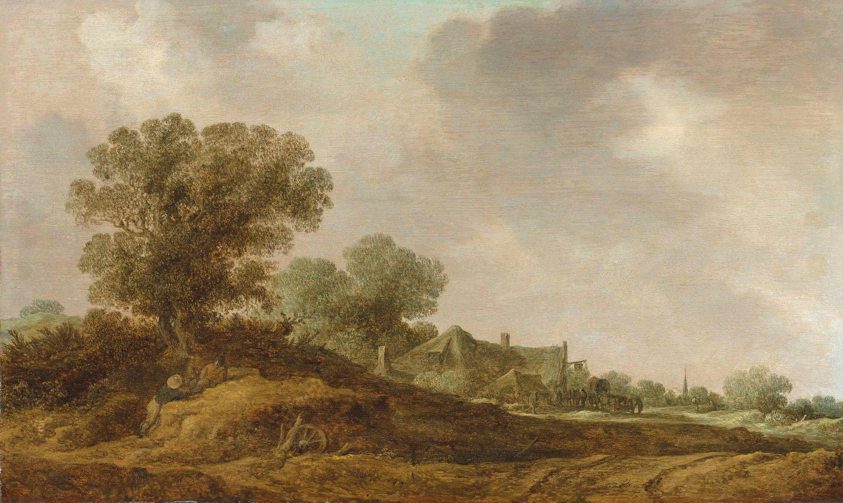 A Dune Landscape With Figures Resting By a Path, Boats On a Lake Beyond by Jan van Goyen