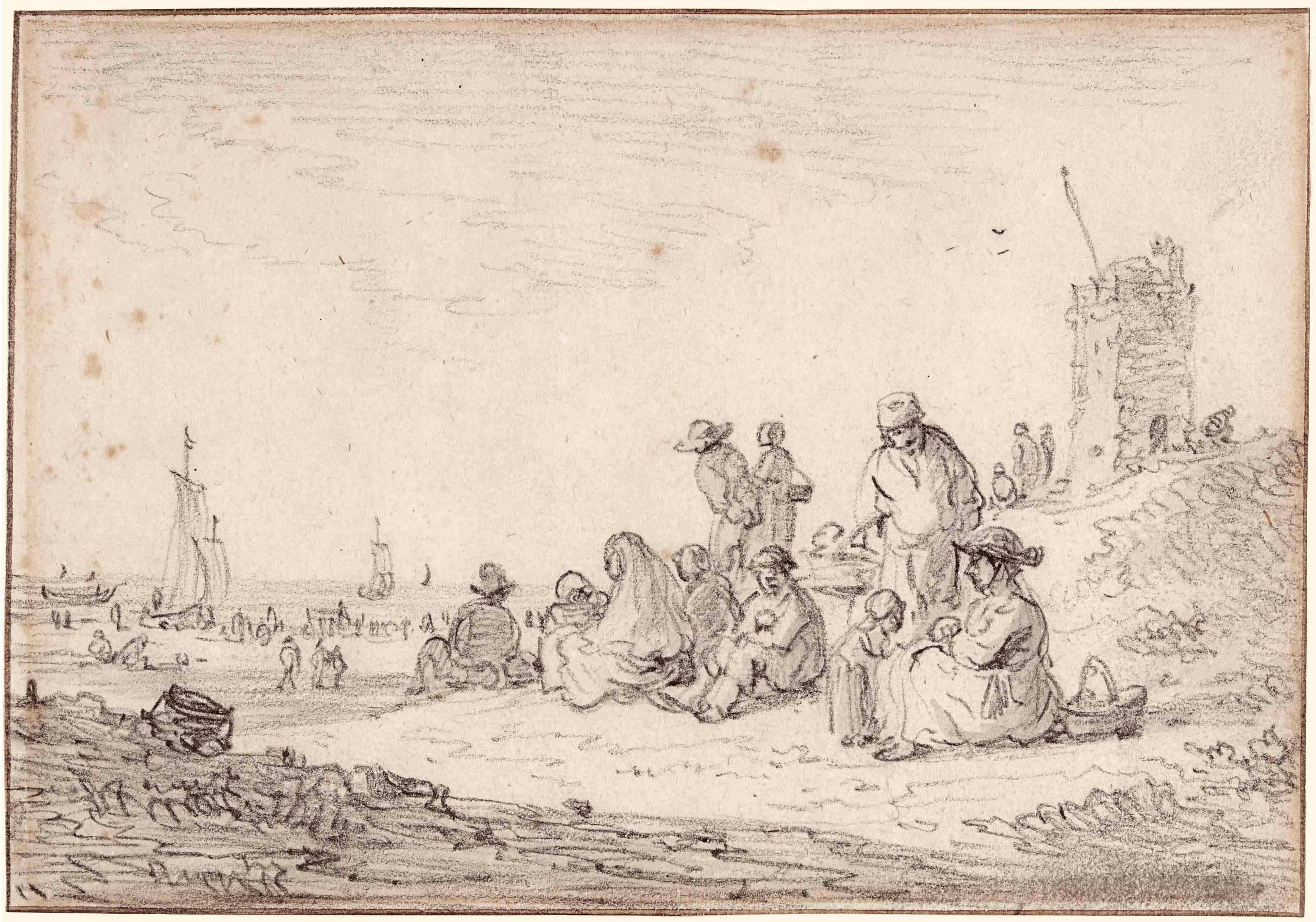 Figures Seated In The Dunes, A Tower To The Right, Awaiting The Return Of The Fishing Fleet by Jan van Goyen