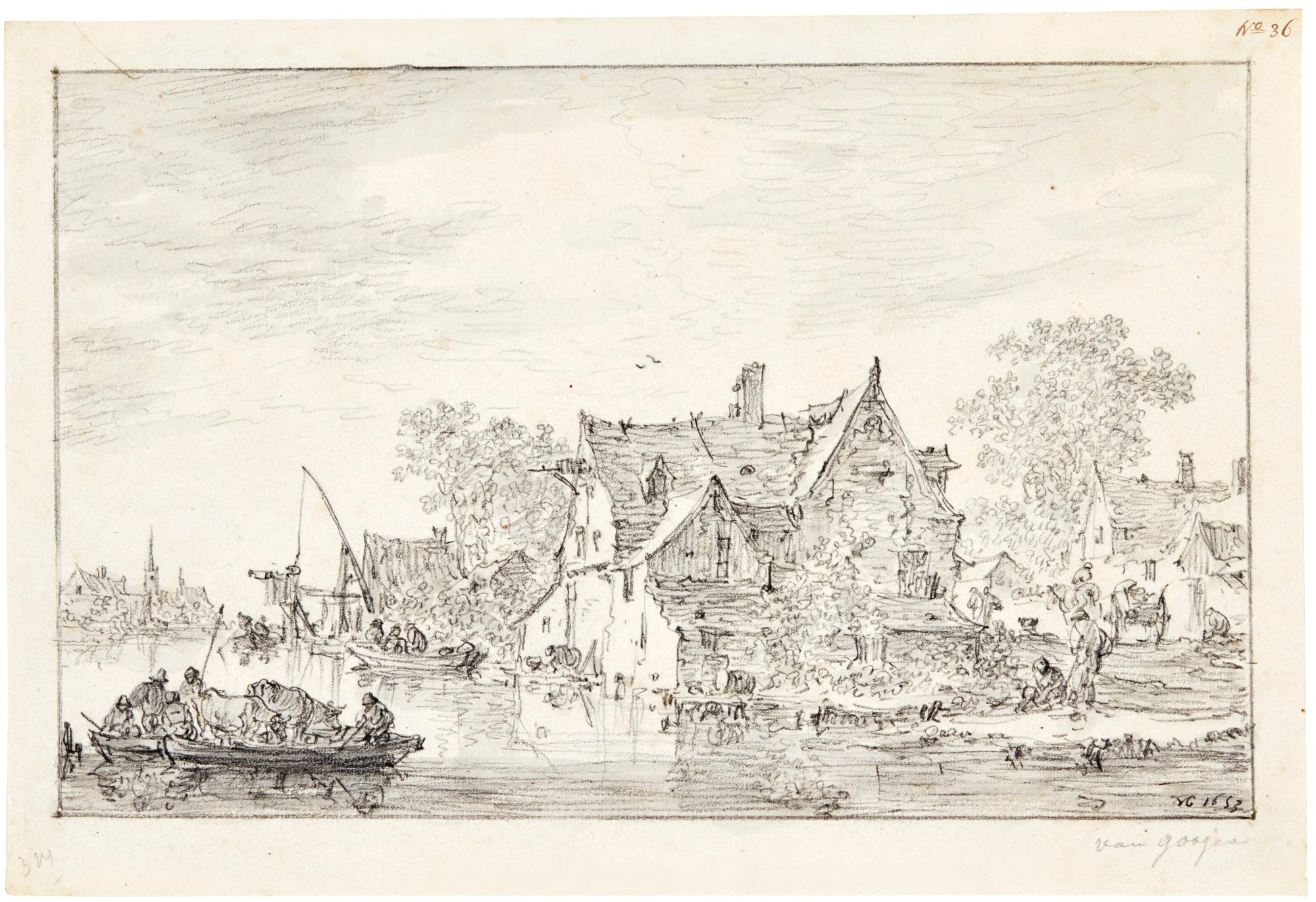 River Landscape with Figures and Cows in a Ferryboat, Approaching a Village by Jan van Goyen