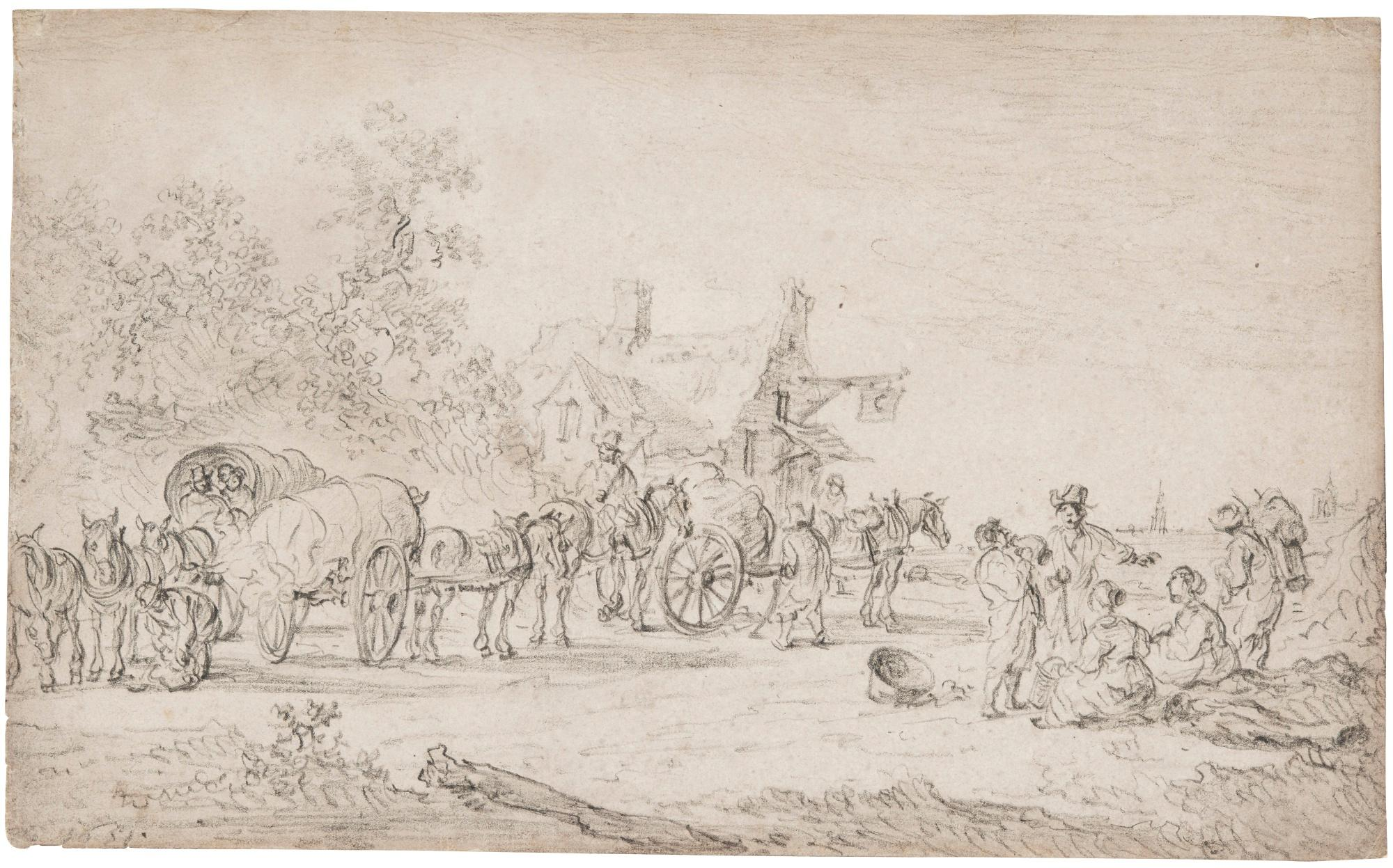 Three Horsedrawn Carts and Other Figures Gathered Before a Wayside Inn by Jan van Goyen