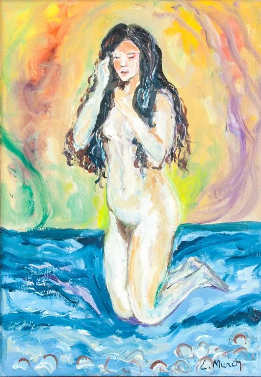 A nude female, with dreamful background by Edvard Munch