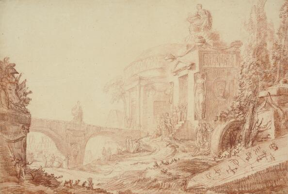 Capriccio with a temple and ancient ruins by Hubert Robert
