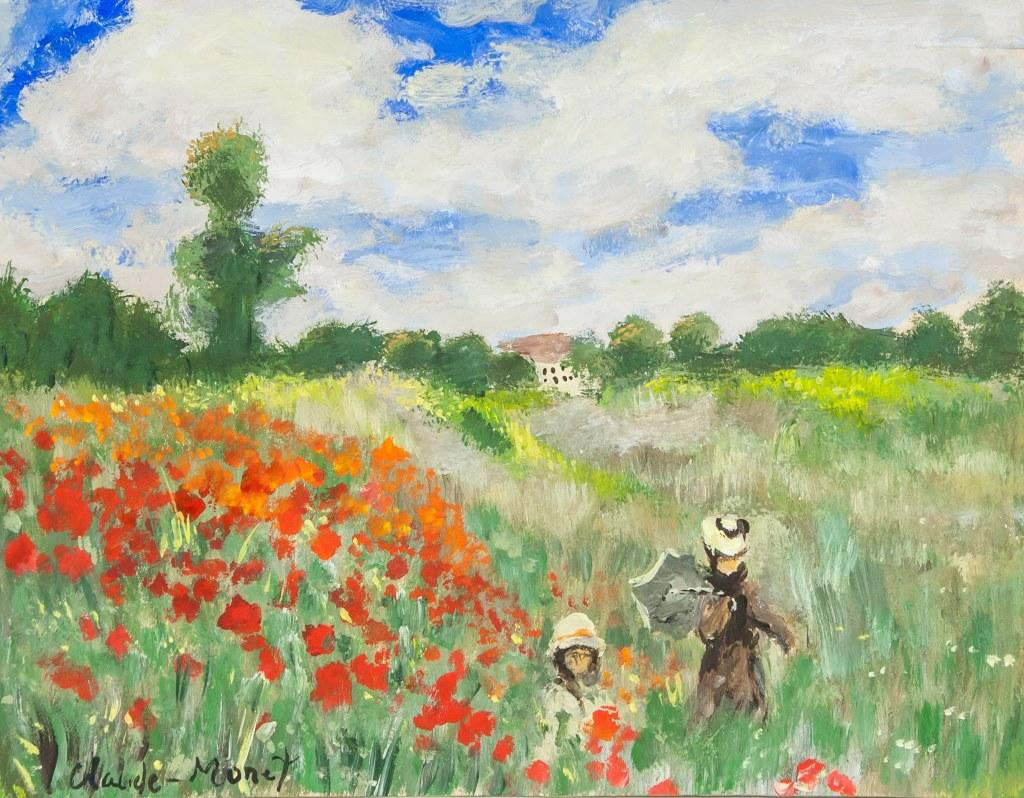 Two figures running in the fields by Claude Monet