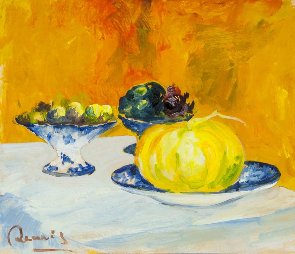 Featuring still life of fruits. by Pierre-Auguste Renoir